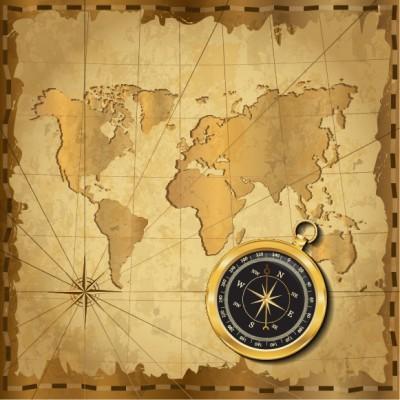 Pusula Kıtalar Ofis Dünya Haritası Duvar Kağıdı